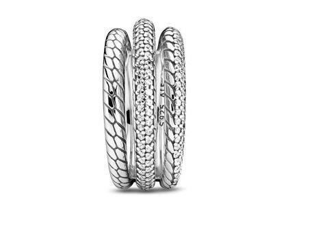 Pandora | Triple Anneau Motif Maille Serpent Pavé