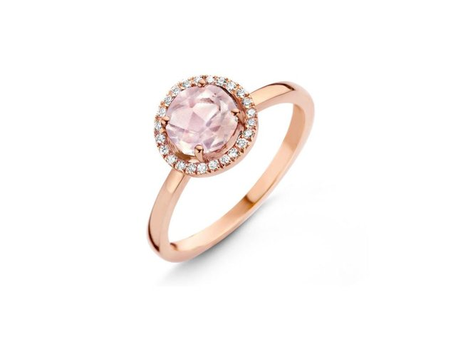 One More | Bague Etna | Quartz rose | Diamants