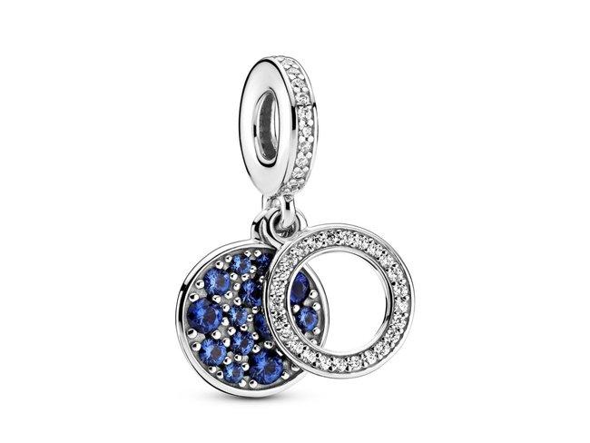Pandora | Pendant Double Disque Bleu Scintillant