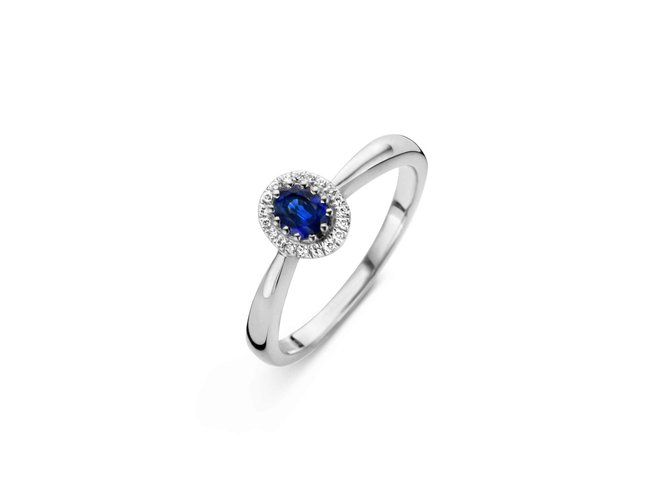 Emmilou 18K | Bague | Or Blanc | Diamants | Saphir