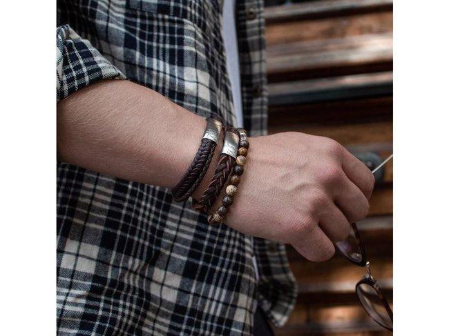 AZE Jewels | Bracelet | Iron big wave brown | AZ-BL001-B