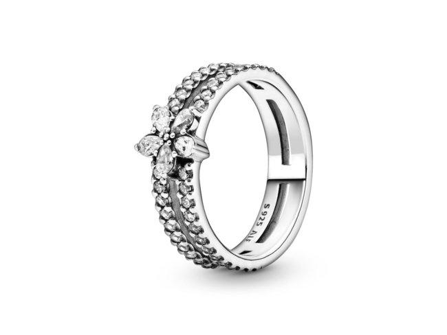 Pandora | Bague | Double Flocon de Neige Scintillant