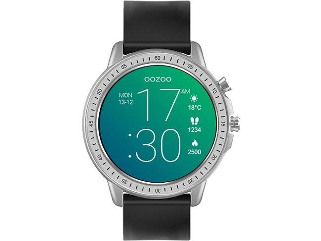 OOZOO | Smartwatch | Caoutchouc Noir | Argenté | Q00300