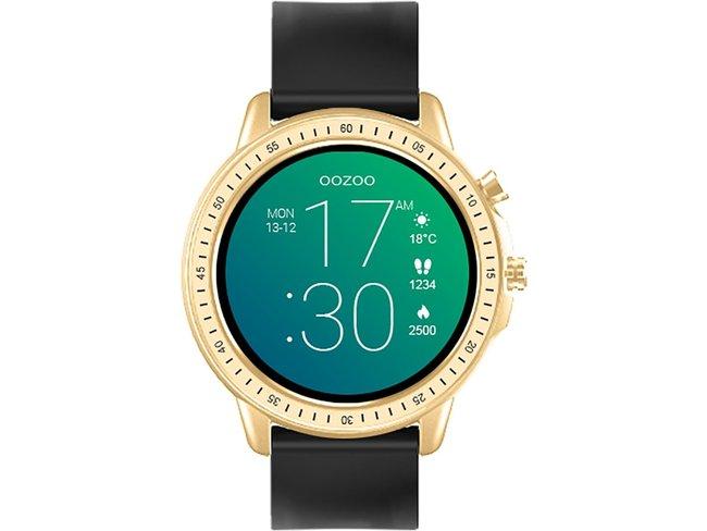 OOZOO | Smartwatch | Caoutchouc Noir | Doré | Q00301