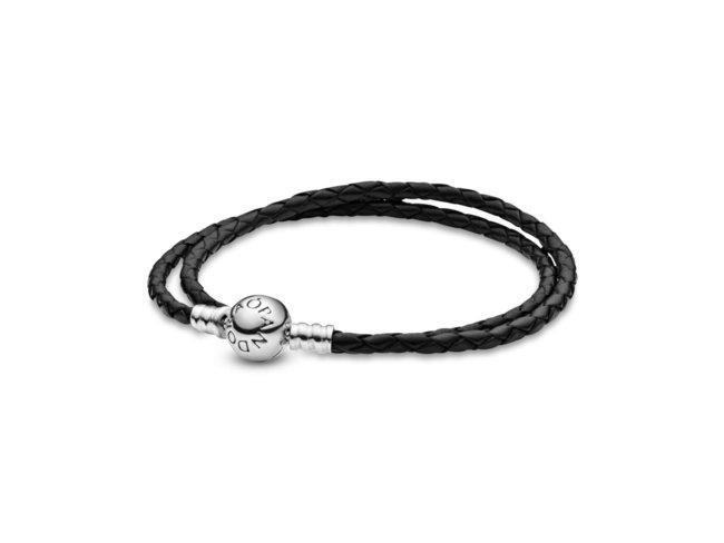 Pandora | Bracelet Double | Cuir Noir | 590745CBK-D1