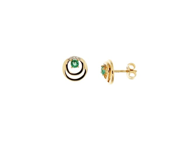 Loumya Gold | Boucles d'Oreilles | Or jaune | Emeraude|Diamants