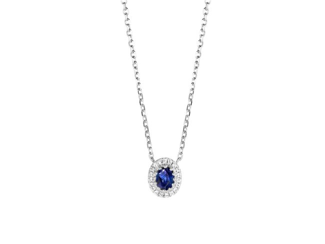 Emmilou | Collier | Or Blanc | Saphirs | Diamants
