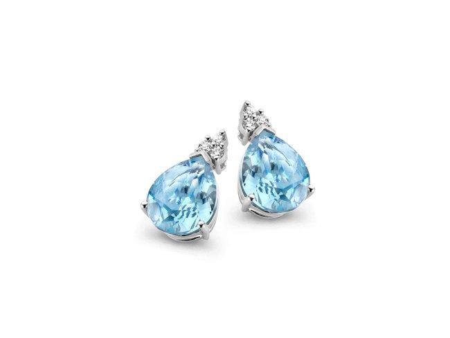 Emmilou 18K | Boucles d'Oreilles | Diamants | Topaze Bleue