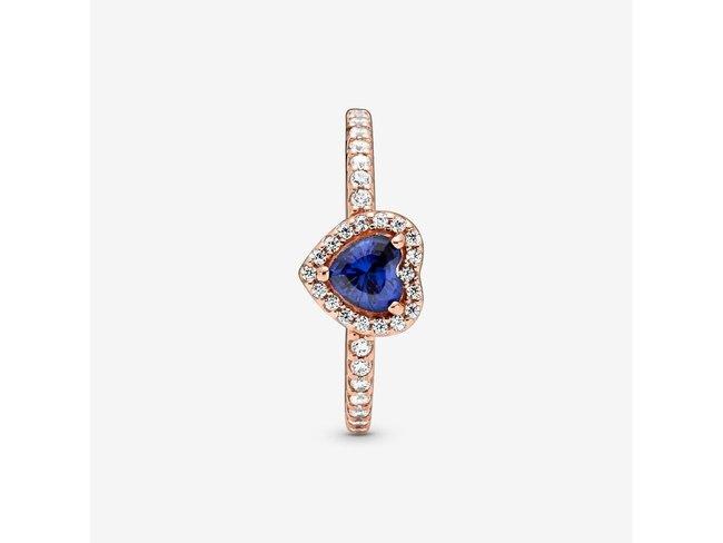 Pandora | Bague | Cœur Surélevé Bleu Scintillant
