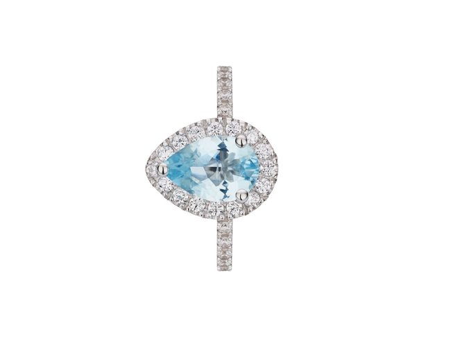 Loumya Gold | Bague | Or Blanc | Diamants |Béryl Bleu |AP S 040