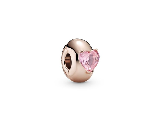 Pandora   Charm   Clip   Solitaire Cœur Rose   789203C01