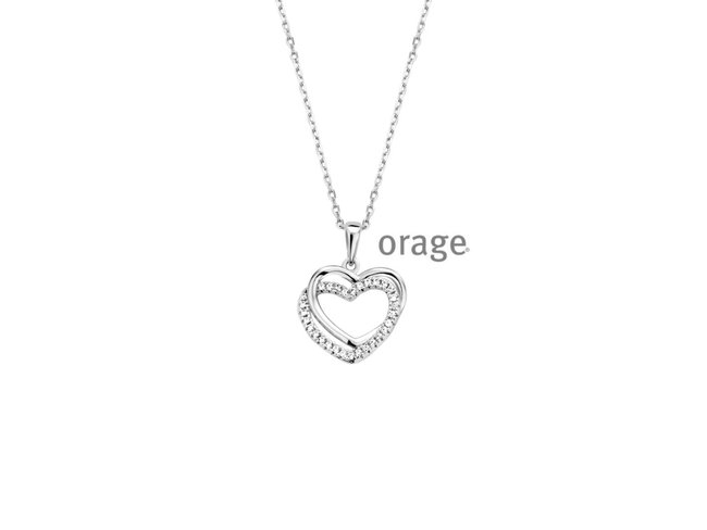 Orage | Collier | Argent | double Coeur | V1432