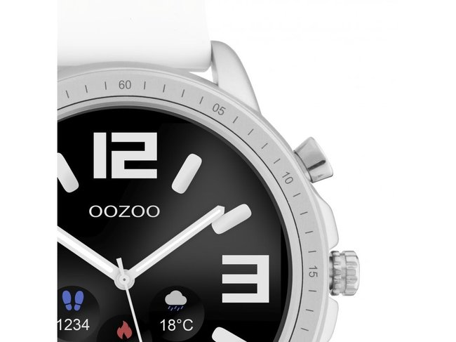 OOZOO | Swartwatch | Caoutchouc Blanc | Argenté |Q00310