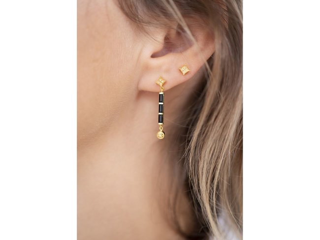 Diamanti Per Tutti | Boucles d'Oreilles | Plaqué Or | Onyx | M1853 DO