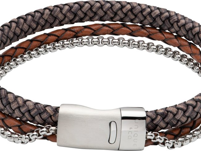 Unique   Bracelet   Cuir   Acier   B481ADB