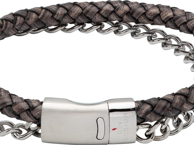 Unique   Bracelet   Cuir   Acier   B480ABL