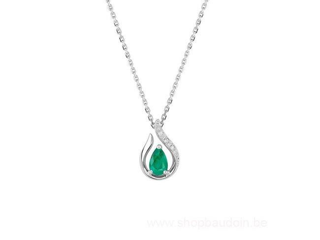 Loumya Gold | Collier | Or Blanc | Diamant | Emeraude |MZ520GEB4