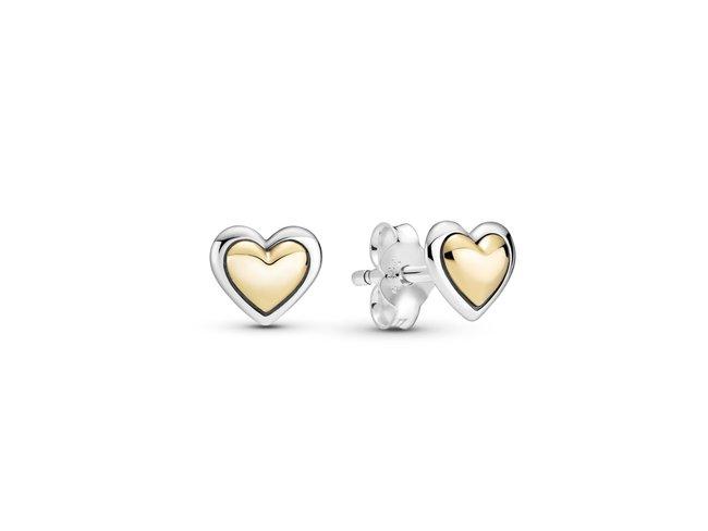 Pandora   Boucles d'Oreilles   Cœurs Dorés Bombé   299389C00