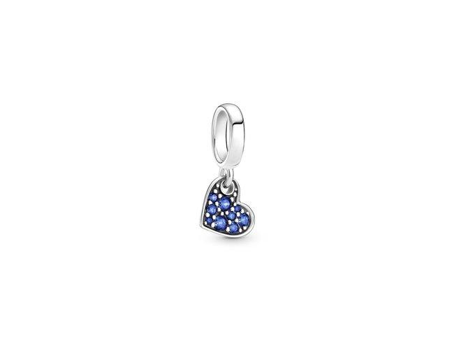 Pandora | Charm |Cœur Incliné Pavé Bleu Stellaire| 799404C01