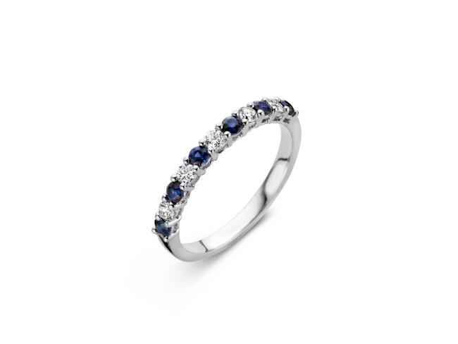 Emmilou 18K | Bague | Or Blanc | Diamants | Saphirs | R12s