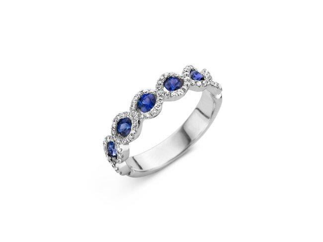 Emmilou 18K | Bague | Or Blanc | Diamants | Saphirs | R15s