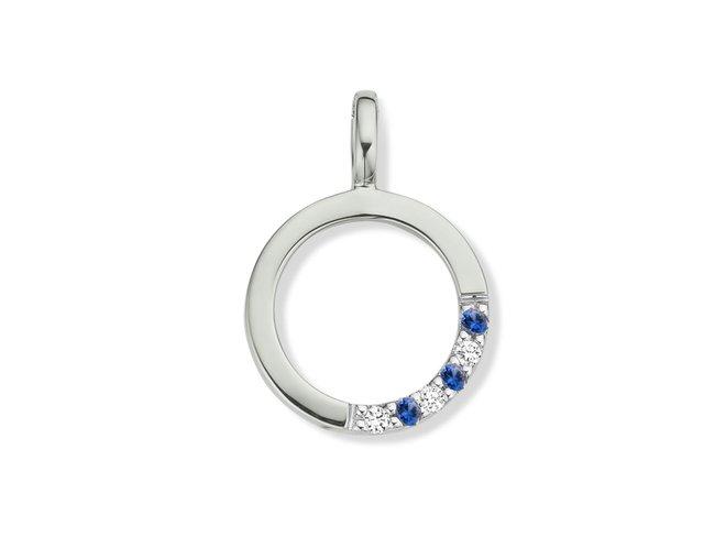 Loumya Gold | Pendentif | Or Blanc | Diamants | Saphirs