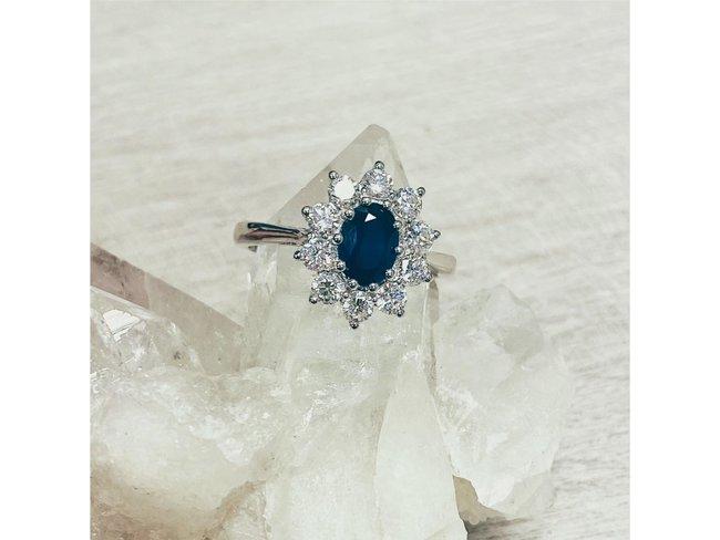 Loumya Gold 18K   Bague   Or Blanc   Diamants   Saphir   RN6104SA